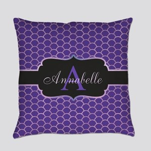 Purple Mermaid Scale Monogram Everyday Pillow